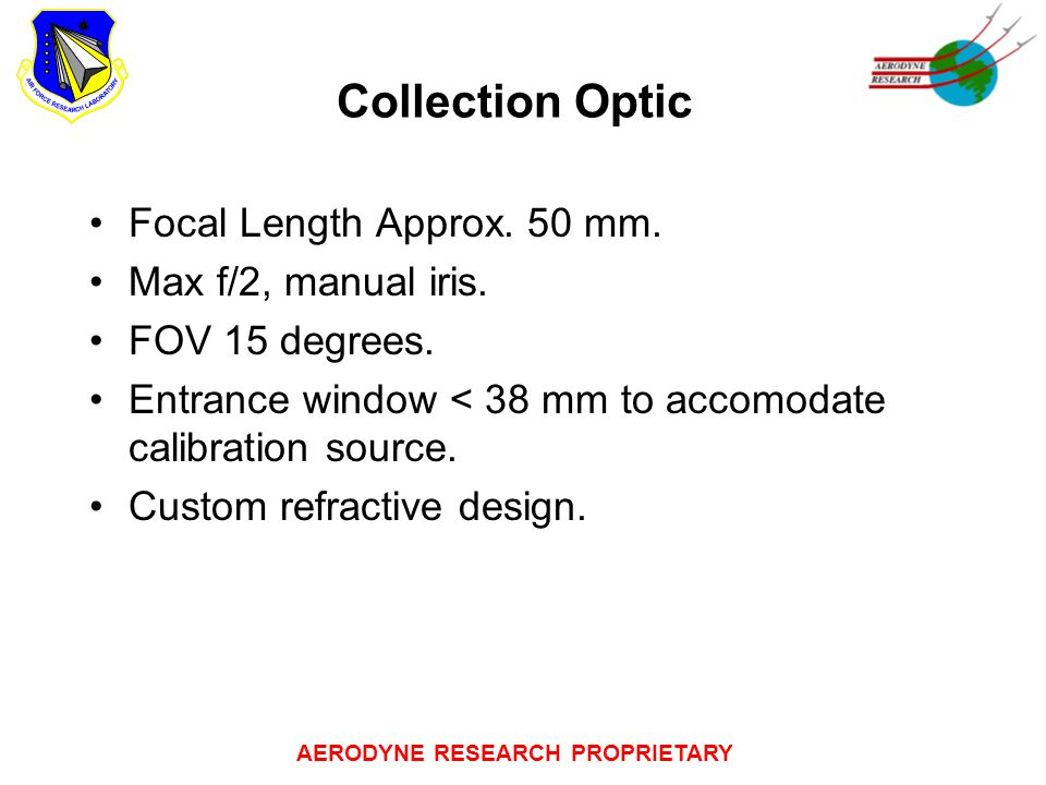 AERODYNE RESEARCH PROPRIETARY Collection Optic Focal Length Approx.