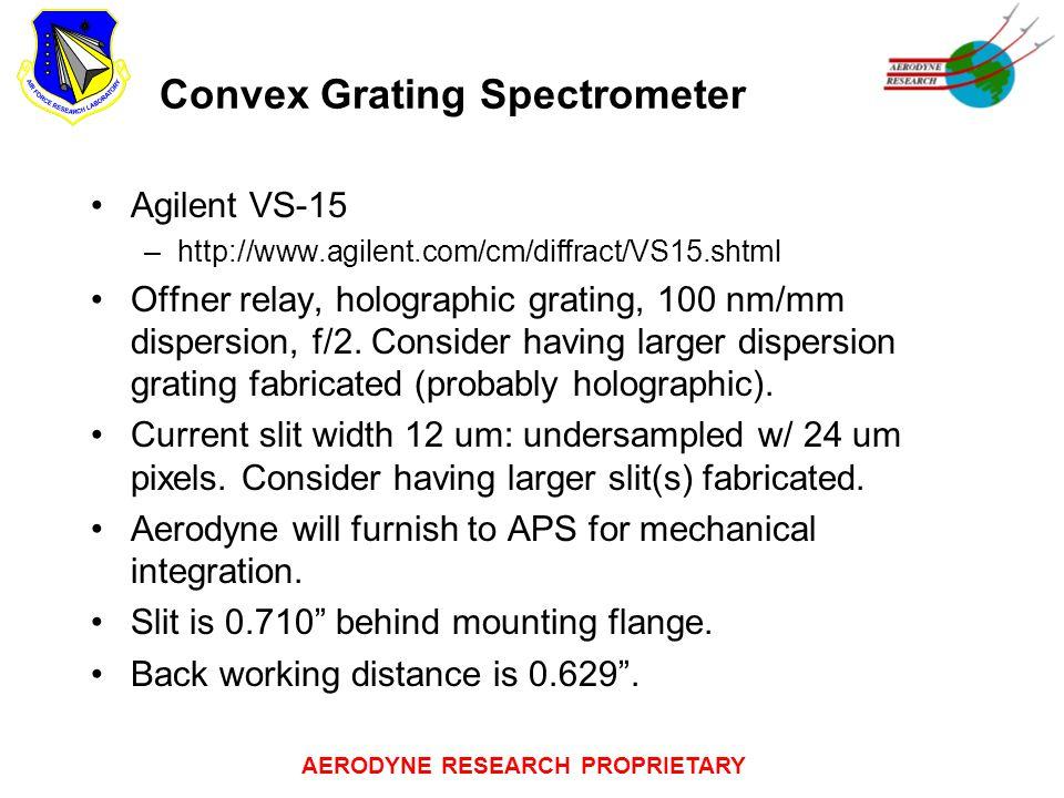 AERODYNE RESEARCH PROPRIETARY Convex Grating Spectrometer Agilent VS-15 –http://www.agilent.com/cm/diffract/VS15.shtml Offner relay, holographic grati