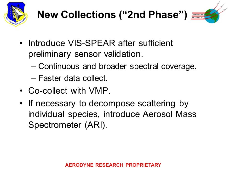 """AERODYNE RESEARCH PROPRIETARY New Collections (""""2nd Phase"""") Introduce VIS-SPEAR after sufficient preliminary sensor validation. –Continuous and broade"""