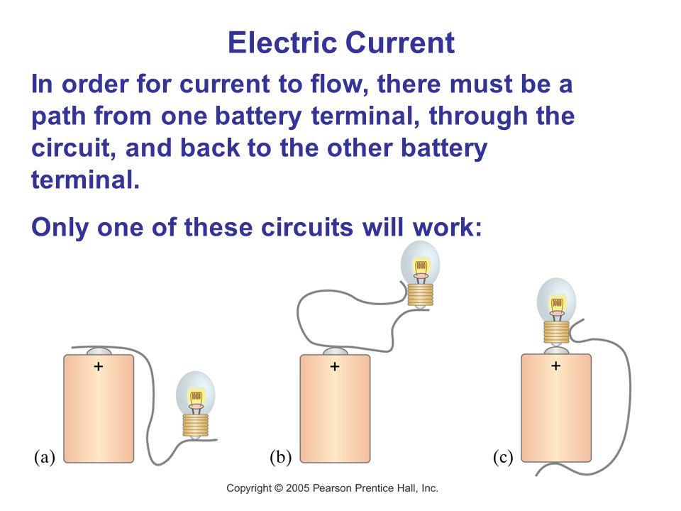 Electric Current In order for current to flow, there must be a path from one battery terminal, through the circuit, and back to the other battery term