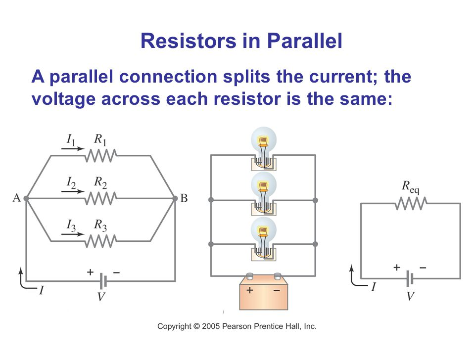 Resistors in Parallel A parallel connection splits the current; the voltage across each resistor is the same:
