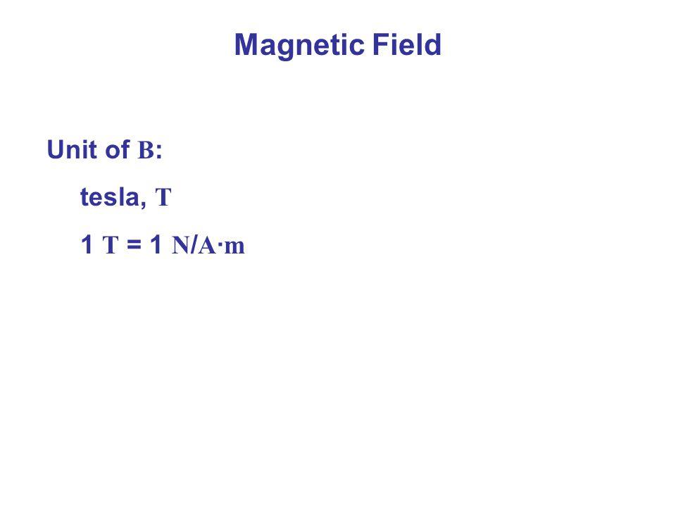 Magnetic Field Unit of B : tesla, T 1 T = 1 N / A · m