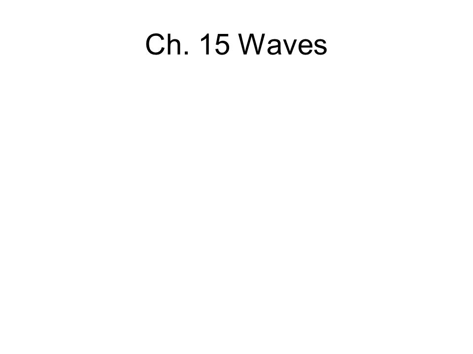 Ch. 15 Waves