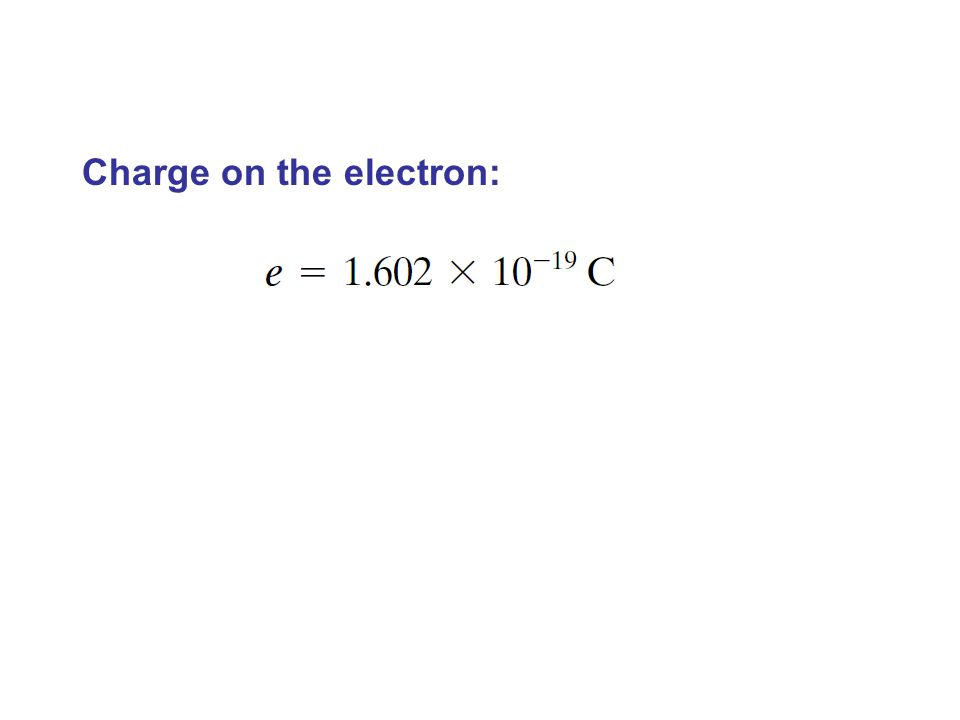 Charge on the electron:
