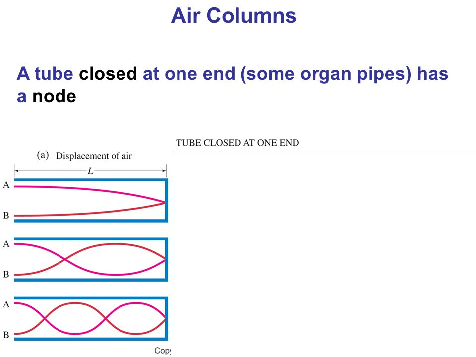 Air Columns A tube closed at one end (some organ pipes) has a node