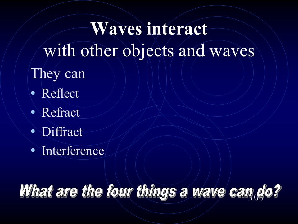 Waves interact with other objects and waves They can Reflect Refract Diffract Interference 108