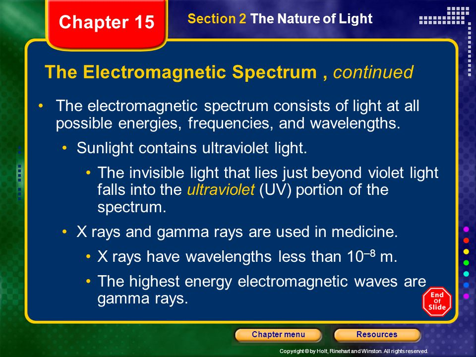 Copyright © by Holt, Rinehart and Winston. All rights reserved. ResourcesChapter menu Section 2 The Nature of Light Chapter 15