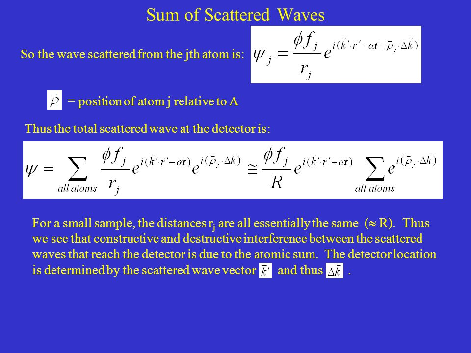 Sum of Scattered Waves So the wave scattered from the jth atom is: For a small sample, the distances r j are all essentially the same (  R). Thus we