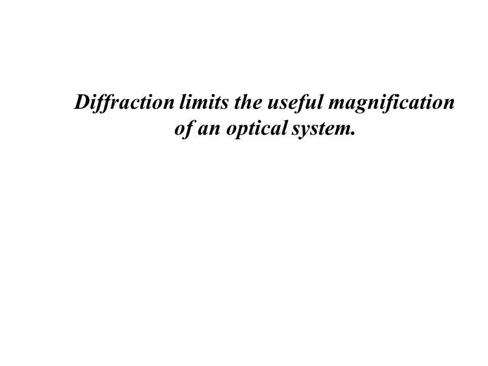 Diffraction limits the useful magnification of an optical system.