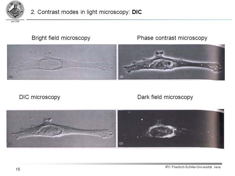 IPC Friedrich-Schiller-Universität Jena 16 Bright field microscopyPhase contrast microscopy DIC microscopyDark field microscopy 2.