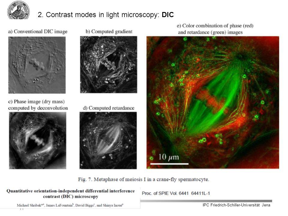 IPC Friedrich-Schiller-Universität Jena 17 2. Contrast modes in light microscopy: DIC