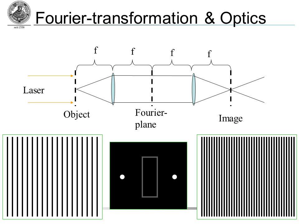 IPC Friedrich-Schiller-Universität Jena 8 Fourier-transformation & Optics Fourier- plane Object Image f f f f Laser