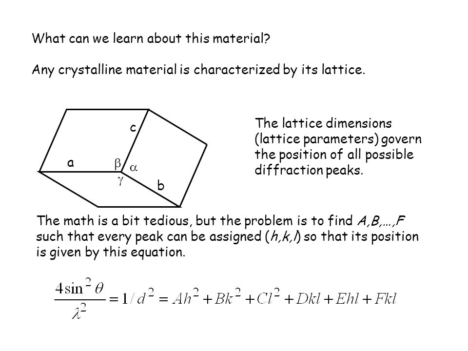 What can we learn about this material? Any crystalline material is characterized by its lattice. a b c    The lattice dimensions (lattice parameter