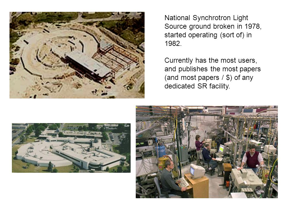 National Synchrotron Light Source ground broken in 1978, started operating (sort of) in 1982. Currently has the most users, and publishes the most pap