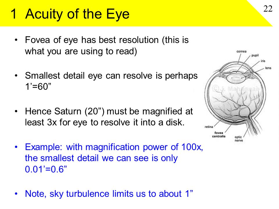 1 Acuity of the Eye Fovea of eye has best resolution (this is what you are using to read) Smallest detail eye can resolve is perhaps 1'=60 Hence Saturn (20 ) must be magnified at least 3x for eye to resolve it into a disk.
