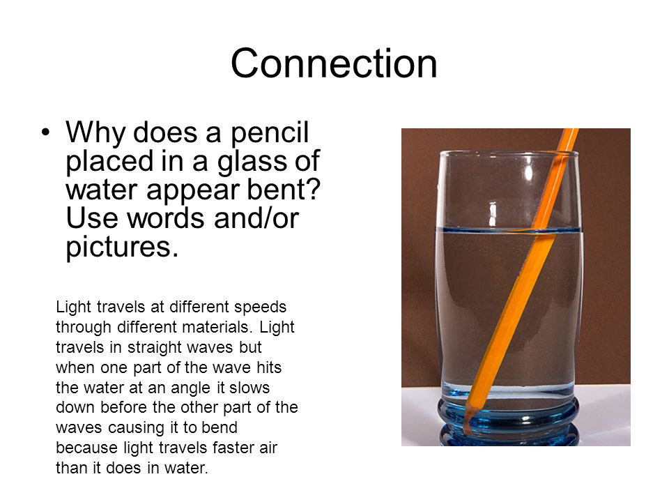 Connection Why does a pencil placed in a glass of water appear bent.