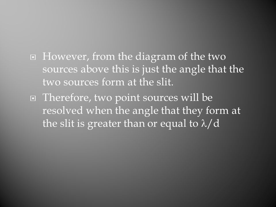  However, from the diagram of the two sources above this is just the angle that the two sources form at the slit.  Therefore, two point sources will