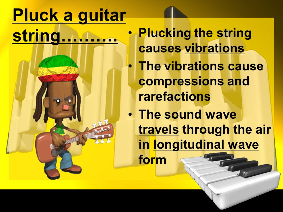 Pluck a guitar string……….