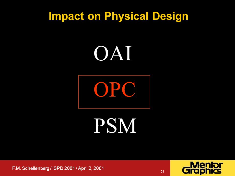 F.M. Schellenberg / ISPD 2001 / April 2, 2001 24 Impact on Physical Design OAI OPC PSM