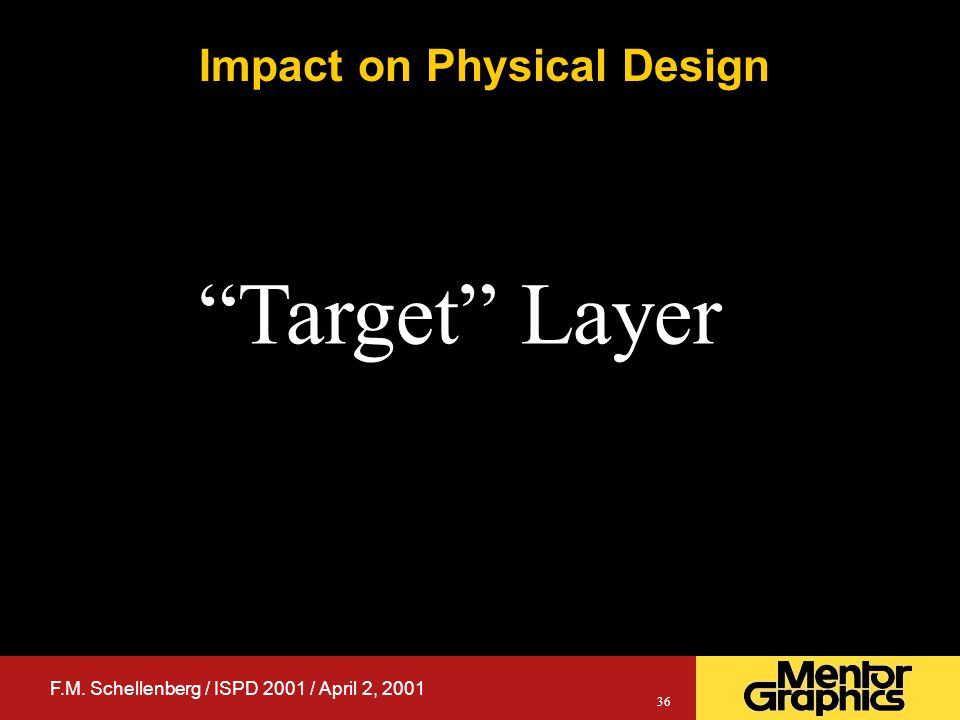 F.M. Schellenberg / ISPD 2001 / April 2, 2001 36 Impact on Physical Design Target Layer
