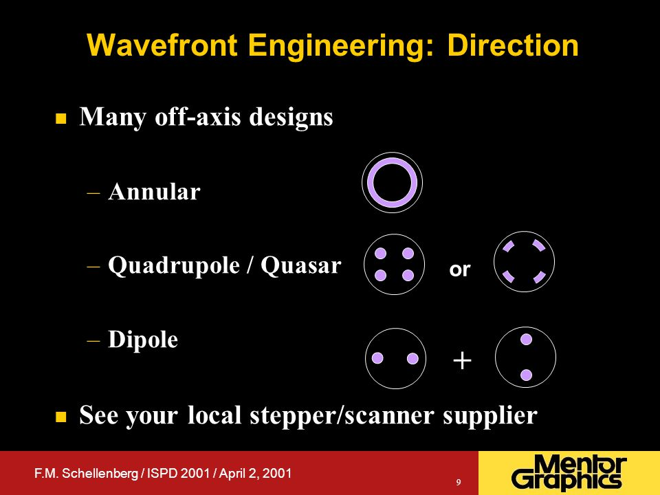 F.M. Schellenberg / ISPD 2001 / April 2, 2001 9 Wavefront Engineering: Direction n Many off-axis designs –Annular –Quadrupole / Quasar –Dipole n See y