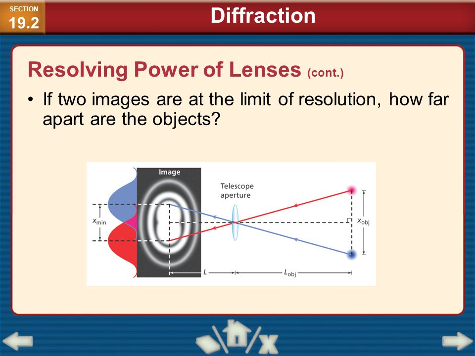 If two images are at the limit of resolution, how far apart are the objects? Resolving Power of Lenses (cont.) SECTION 19.2 Diffraction