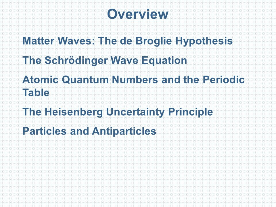 Overview Matter Waves: The de Broglie Hypothesis The Schrödinger Wave Equation Atomic Quantum Numbers and the Periodic Table The Heisenberg Uncertainty Principle Particles and Antiparticles