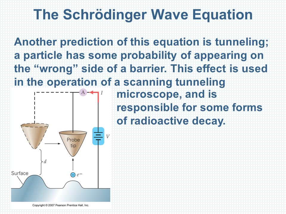 The Schrödinger Wave Equation Another prediction of this equation is tunneling; a particle has some probability of appearing on the wrong side of a barrier.