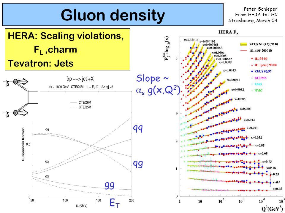 Peter Schleper From HERA to LHC Strasbourg, March 04 12 Gluon density HERA: Scaling violations, F L,charm Tevatron: Jets Slope ~  s g(x,Q 2 ) ETET gg qg qq