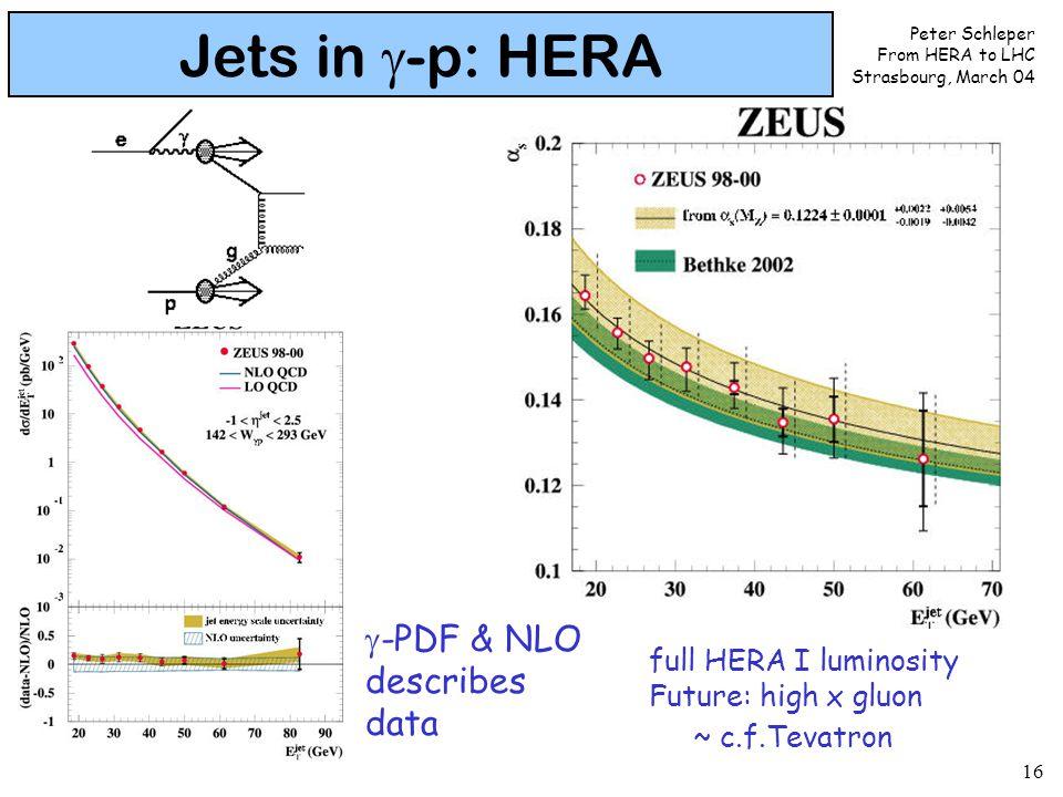 Peter Schleper From HERA to LHC Strasbourg, March 04 16 Jets in  -p: HERA full HERA I luminosity Future: high x gluon ~ c.f.Tevatron  -PDF & NLO describes data