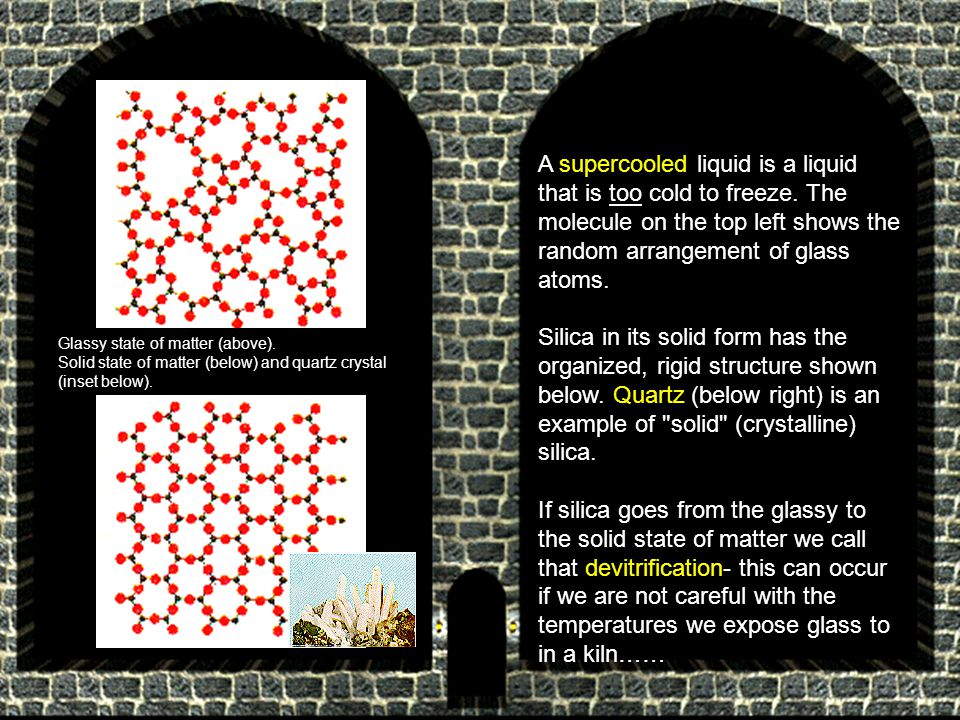 A supercooled liquid is a liquid that is too cold to freeze. The molecule on the top left shows the random arrangement of glass atoms. Silica in its s