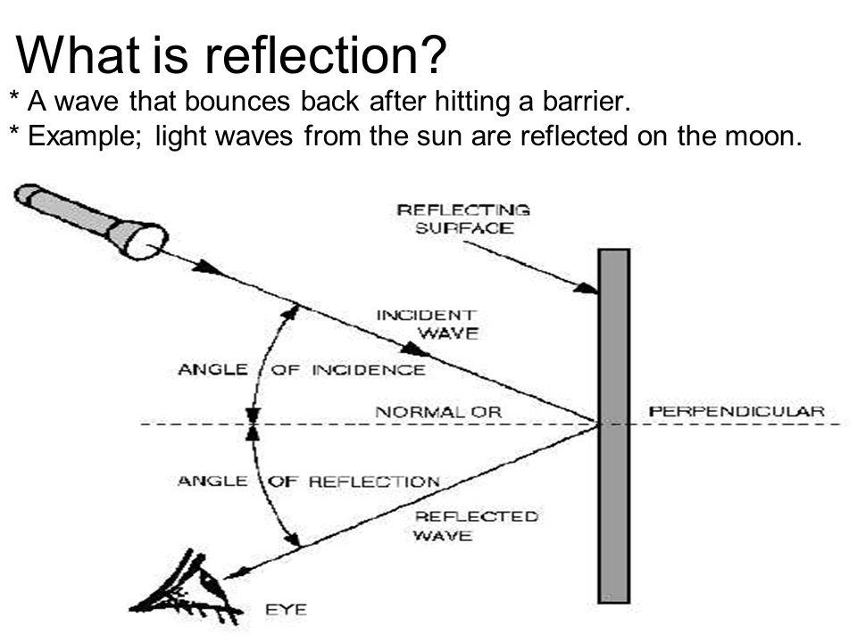 What is reflection? * A wave that bounces back after hitting a barrier. * Example; light waves from the sun are reflected on the moon.