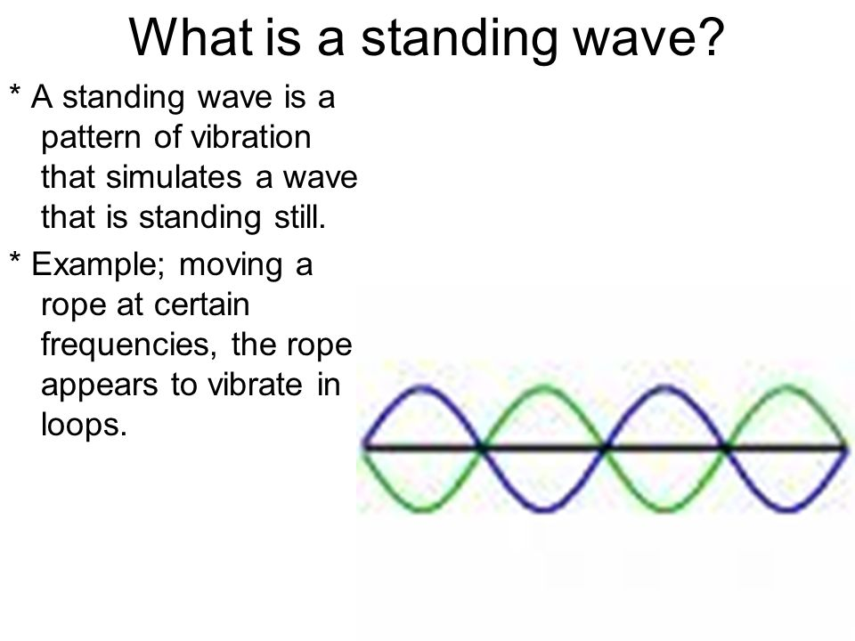What is a standing wave? * A standing wave is a pattern of vibration that simulates a wave that is standing still. * Example; moving a rope at certain