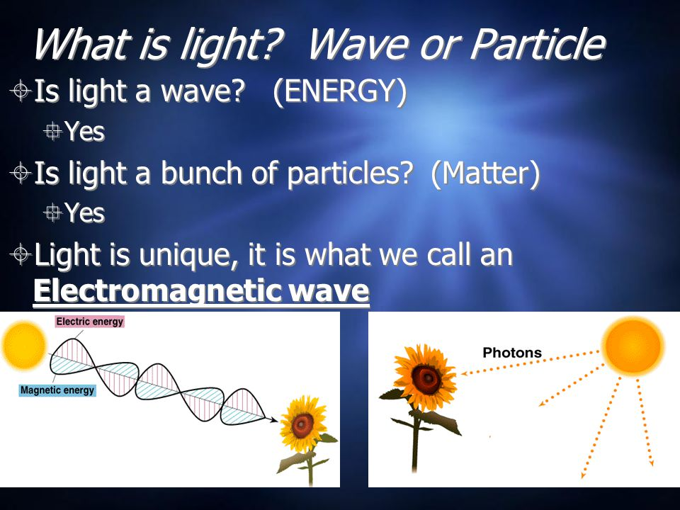 How is light like a particle (matter).