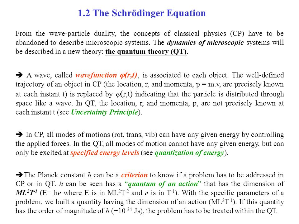 1.2 The Schrödinger Equation From the wave-particle duality, the concepts of classical physics (CP) have to be abandoned to describe microscopic syste