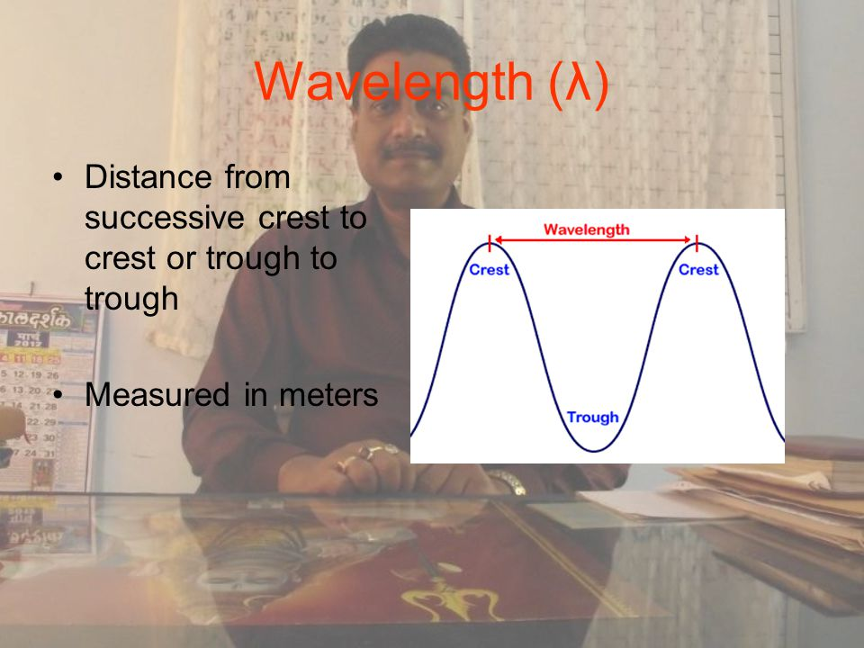 Wavelength (λ) Distance from successive crest to crest or trough to trough Measured in meters