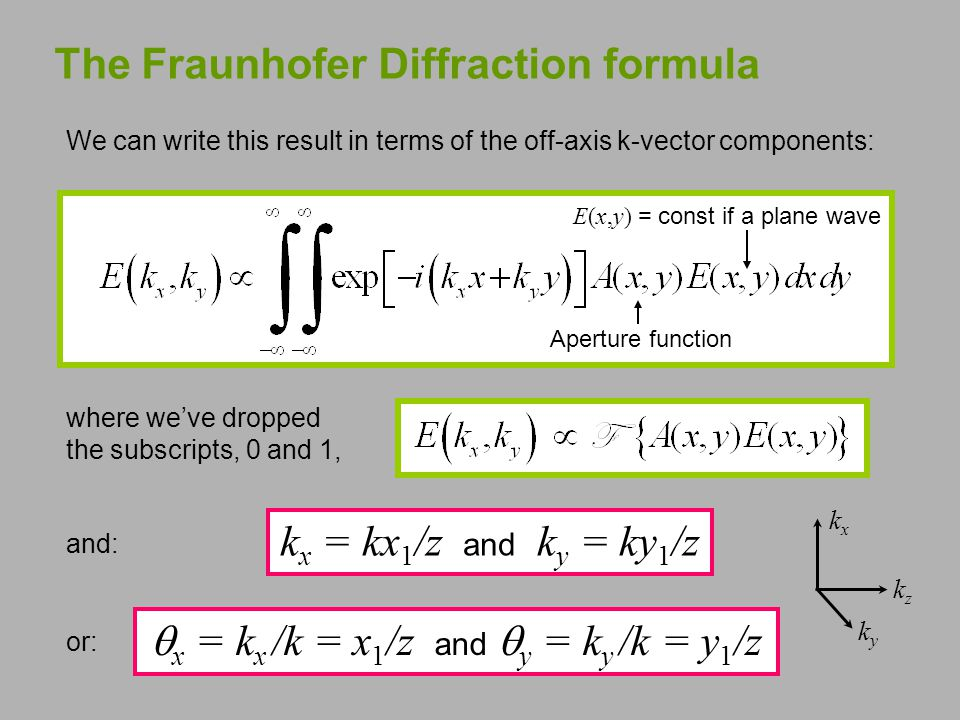 The Fraunhofer Diffraction formula where we've dropped the subscripts, 0 and 1, E(x,y) = const if a plane wave Aperture function We can write this result in terms of the off-axis k-vector components: k x = kx 1 /z and k y = ky 1 /z kzkz kyky kxkx  x = k x /k = x 1 /z and  y = k y /k = y 1 /z and: or:
