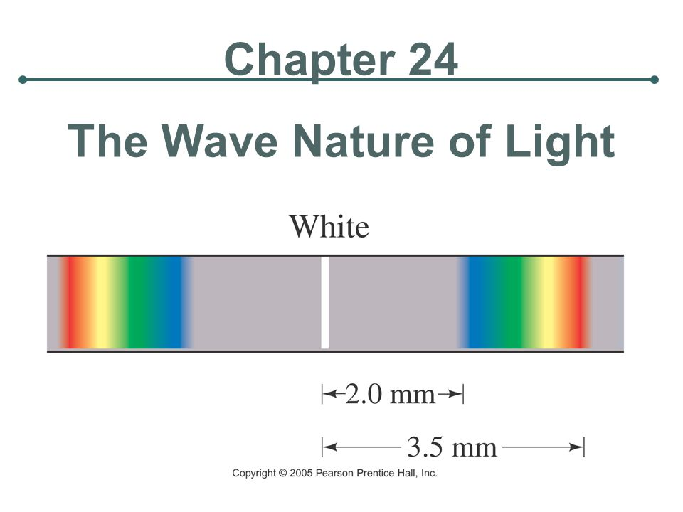Units of Chapter 24 Waves Versus Particles; Huygens' Principle and Diffraction Huygens' Principle and the Law of Refraction Interference – Young's Double Slit Experiment The Visible Spectrum and Dispersion Diffraction by a Single Slit or Disk Diffraction Grating The Spectrometer and Spectroscopy
