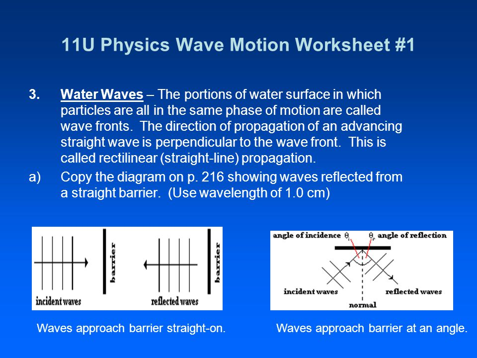 11U Physics Wave Motion Worksheet #1 3.Water Waves – The portions of water surface in which particles are all in the same phase of motion are called wave fronts.