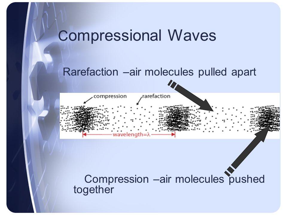 C ompressional Waves Rarefaction –air molecules pulled apart Compression –air molecules pushed together