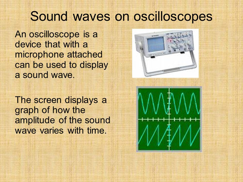 Sound waves on oscilloscopes An oscilloscope is a device that with a microphone attached can be used to display a sound wave. The screen displays a gr