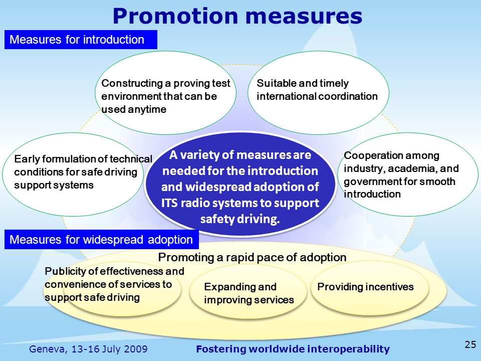 Fostering worldwide interoperability 25 Geneva, 13-16 July 2009 Constructing a proving test environment that can be used anytime Early formulation of technical conditions for safe driving support systems Suitable and timely international coordination Cooperation among industry, academia, and government for smooth introduction Promoting a rapid pace of adoption Providing incentivesExpanding and improving services Publicity of effectiveness and convenience of services to support safe driving A variety of measures are needed for the introduction and widespread adoption of ITS radio systems to support safety driving.