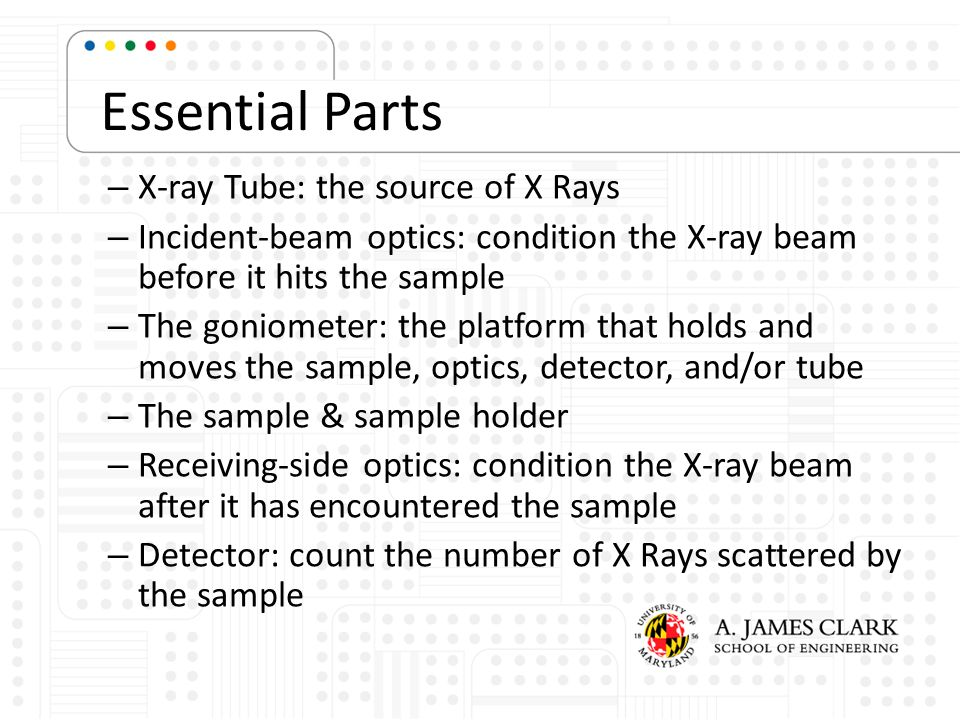 Essential Parts – X-ray Tube: the source of X Rays – Incident-beam optics: condition the X-ray beam before it hits the sample – The goniometer: the pl
