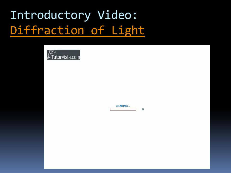 Introductory Video: Diffraction of Light Diffraction of Light