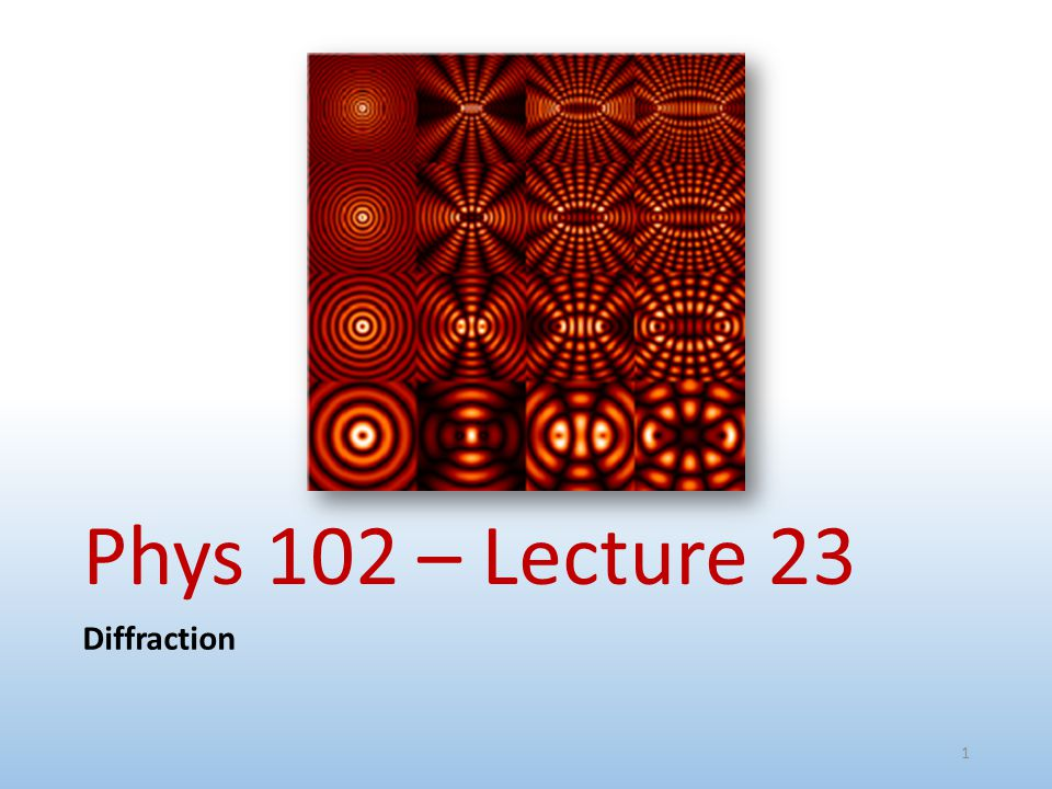 Phys 102 – Lecture 23 Diffraction 1