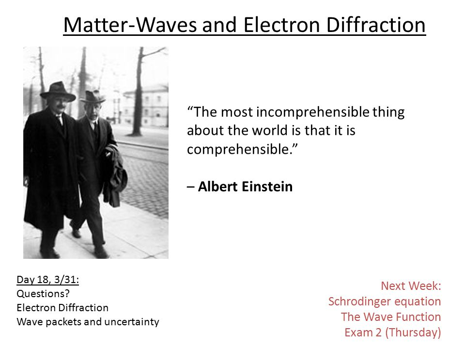 Matter-Waves and Electron Diffraction The most incomprehensible thing about the world is that it is comprehensible. – Albert Einstein Day 18, 3/31: Questions.