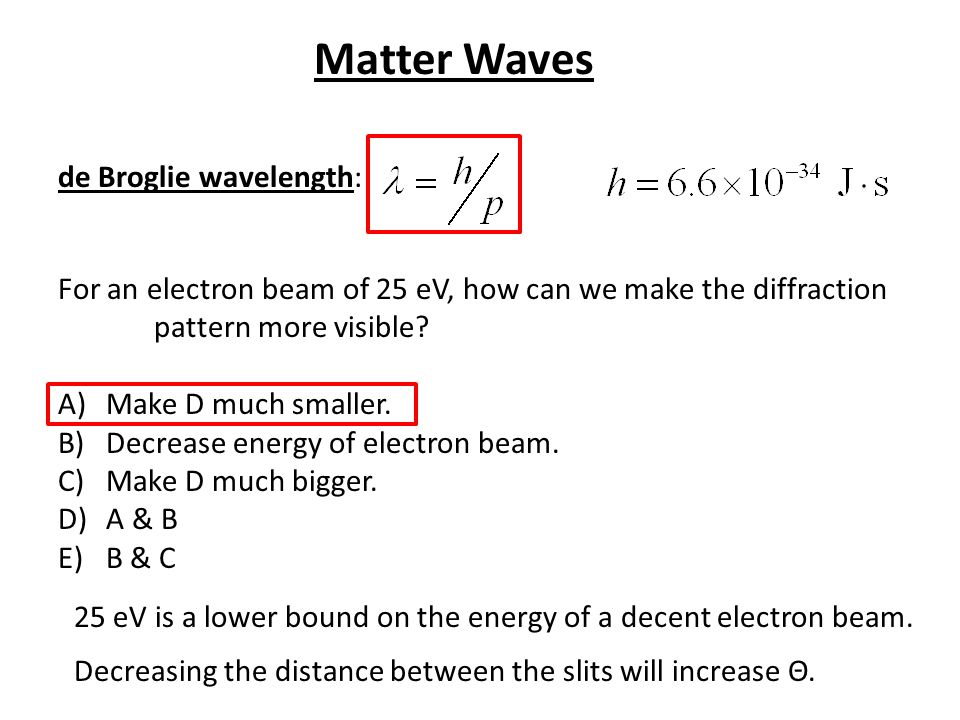 de Broglie wavelength: For an electron beam of 25 eV, how can we make the diffraction pattern more visible? A)Make D much smaller. B)Decrease energy o