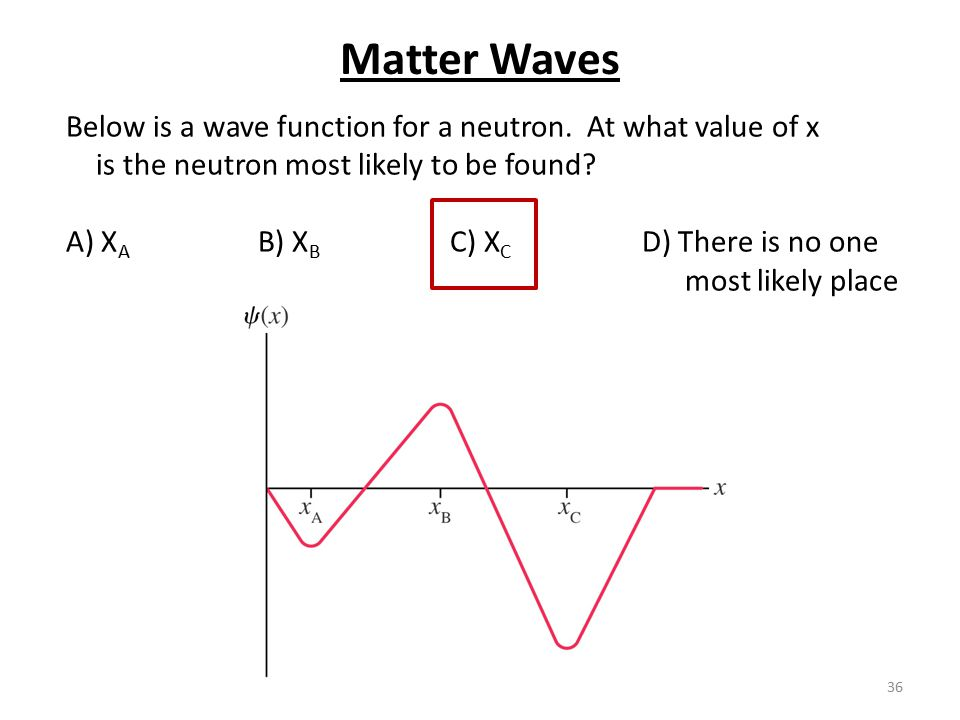 36 Below is a wave function for a neutron. At what value of x is the neutron most likely to be found? A) X A B) X B C) X C D) There is no one most lik