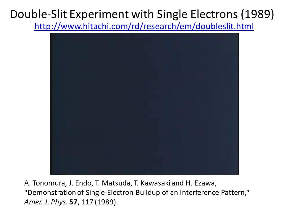 Double-Slit Experiment with Single Electrons (1989) A. Tonomura, J. Endo, T. Matsuda, T. Kawasaki and H. Ezawa,
