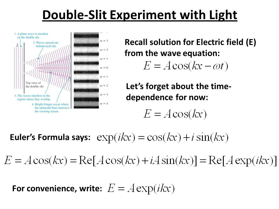 Double-Slit Experiment with Light Recall solution for Electric field (E) from the wave equation: Let's forget about the time- dependence for now: Eule